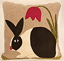 Springtime Rabbit Felted Wool Applique Pillow